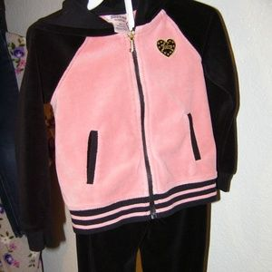 GIRLS JUICY COUTURE 3T BLACK PINK JOGGING SUIT